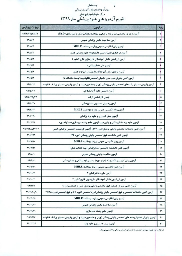 جدول زمانبندی برگزاری آزمونهای گروه علوم پزشکی در سال ١٣٩٩